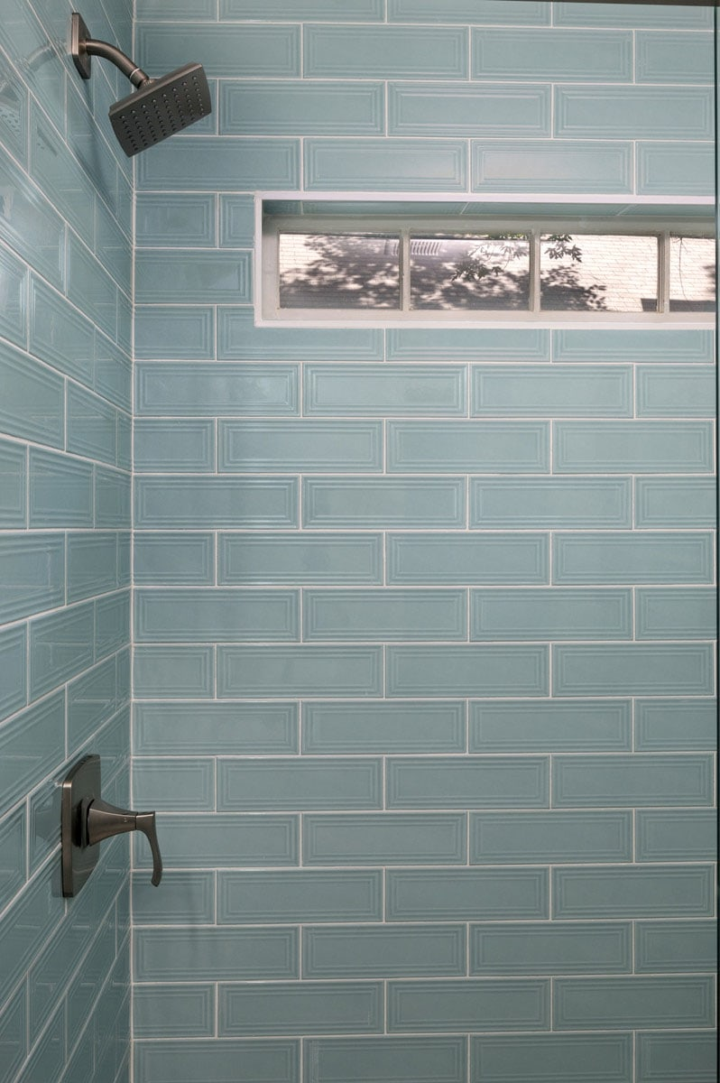 bathroom remodel with blue tile